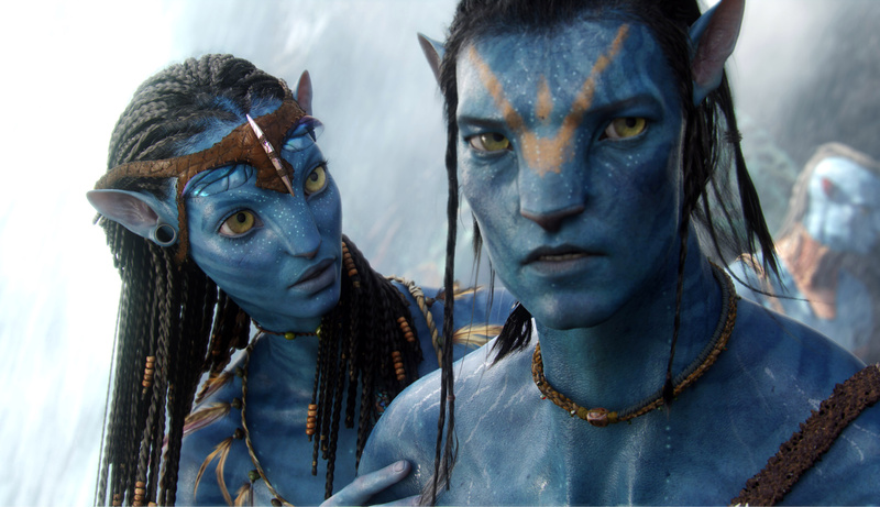 The character Neytiri, voiced by Zoe Saldana, left, and the character Jake, voiced by Sam Worthington are shown in a scene from,