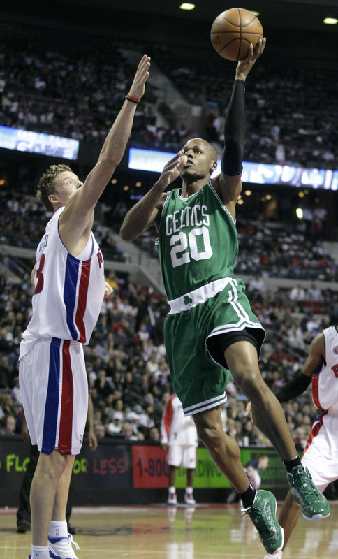 Ray Allen, who scored 18 points Tuesday night for the Boston Celtics, angles for a shot against Jonas Jerebko of the Detroit Pistons. Boston won, 105-100.