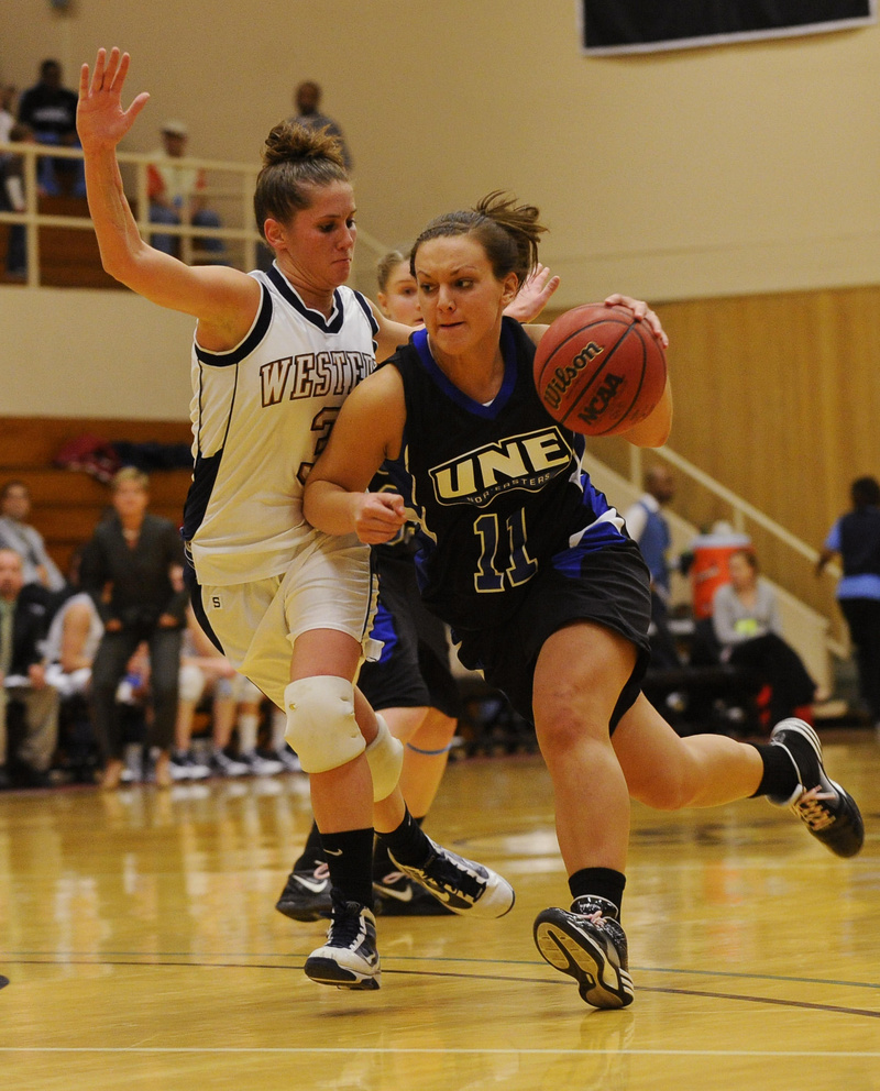 Liz LeBlanc tries to get past Western Connecticut's Karli Spera. Western Liz LeBlanc tries to get past Western Connecticut's Karli Spera. Western Connecticut advanced to a second-round matchup today against Bowdoin, a 67-53 winner over Baruch.