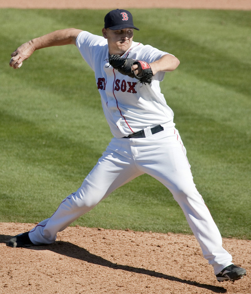 Joe Nelson, a former Sea Dogs closer, is one of the four older pitchers who are competing for a spot in the Boston Red Sox bullpen.