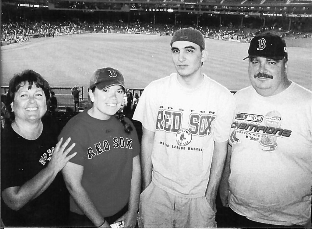 Joel Potvin, right, is pictured with his wife, Marie, daughter Ashley and son Matthew at a Red Sox game last summer.