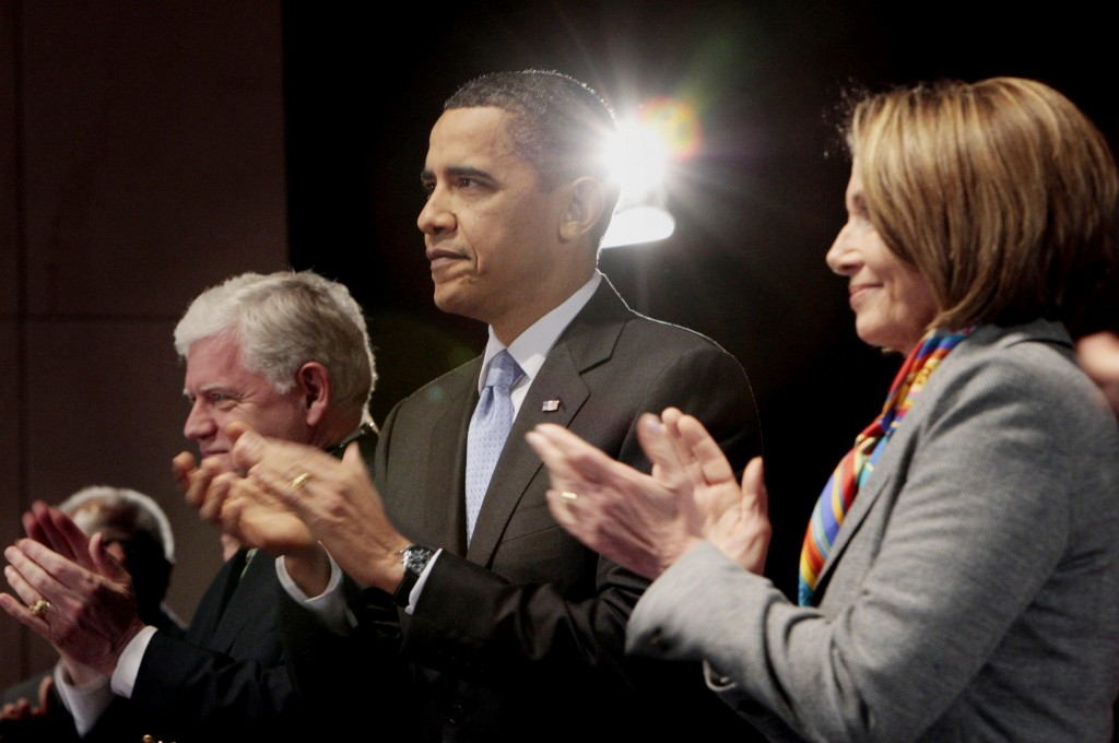 President Obama visited Capitol Hill Saturday night in an effort to rally House Democrats leading up to Sunday's historic vote on health care. With Obama are Rep. John B. Larson, D-Conn., and Speaker of the House Nancy Pelosi, D-Calif.