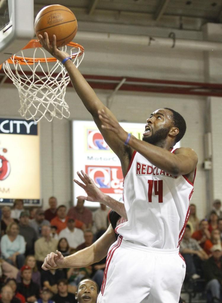Marcus Landry of the Red Claws rolls in a layup for two of his 34 points Sunday in a 118-107 victory over the Springfield Armor at the Portland Expo.