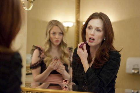 "Amanda Seyfried and Julianne Moore conspire in the erotic drama ""Chloe."""