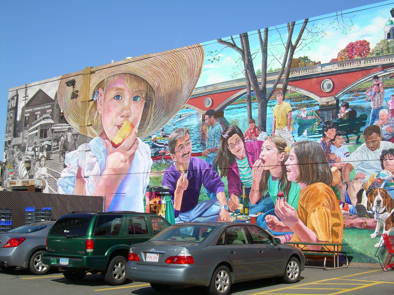 The parking lot was full and a steady stream of customers filed in and out when reporter Meredith Goad visited the Trader Joe's in Cambridge, Mass. A vivid mural of scenes around Cambridge adorns one side of the store.