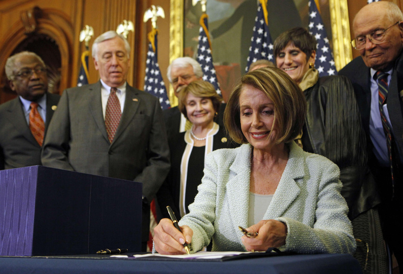 House Speaker Nancy Pelosi, D-Calif., signs the health care reform bill Monday, sending it on to President Obama for his signature today. Republicans will make a last push this week to derail the package of fixes to the legislation in the Senate.