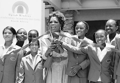 Oprah Winfrey is shown in 2007 at the opening ceremony of her Leadership Academy for Girls School at Henley-on-Klip, South Africa.