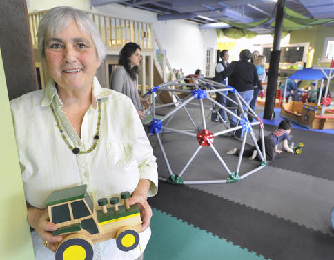 Jo Moser inside GreenLight Studio, a new indoor green-oriented play space for kids and their grown-ups on Dartmouth Street in Portland.