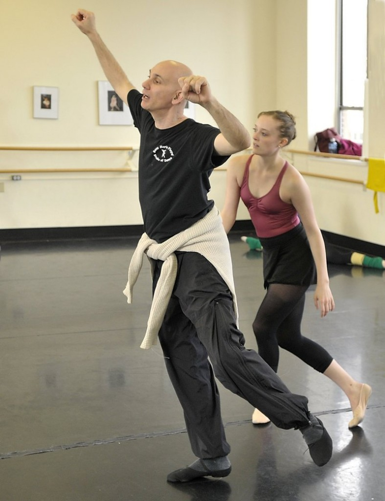 """Choreographer Kennet Oberly rehearses with Morgan Sanborn of Portland Ballet for """"Requiem."""""""