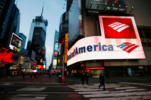 A wraparound logo adorns a New York branch office of Bank of America, which is offering help to troubled mortgagees.