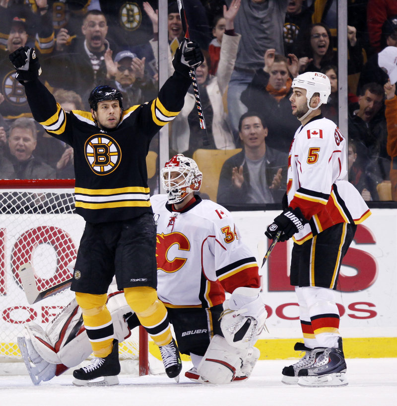 Marco Sturm celebrates a first-period goal by Dennis Seidenberg as Calgary's Miikka Kiprusoff, center, and Mark Giordano look on Saturday at the TD Garden. The Bruins won for only the third time in their last 15 home games, 5-0.