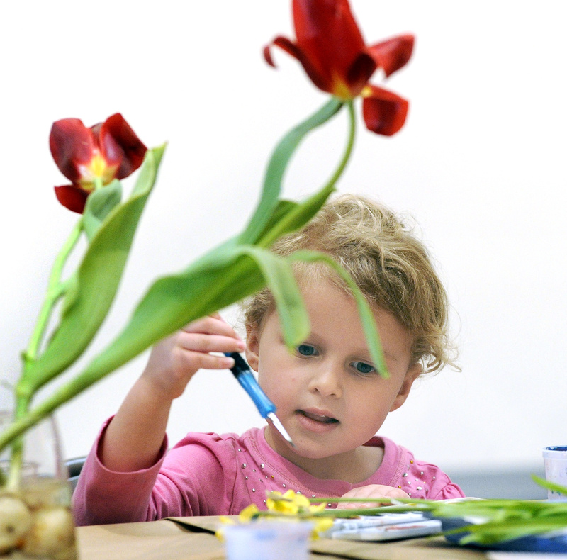 Stella Heinegg, 4, of Medford, Mass., concentrates on her still life.