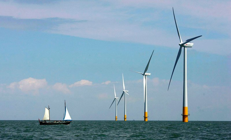A vessel sails toward an offshore wind farm off the coast of Whitstable on the north Kent coast in southeastern England. U.S. Interior Secretary Ken Salazar has cleared the way for the nation's first offshore wind farm in Nantucket Sound.