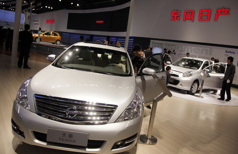 The Teana, manufactured by Nissan, is displayed at the Beijing Auto China 2010 show in Beijing. Nissan said the Teana, also sold in Japan and other countries, was created with China in mind.