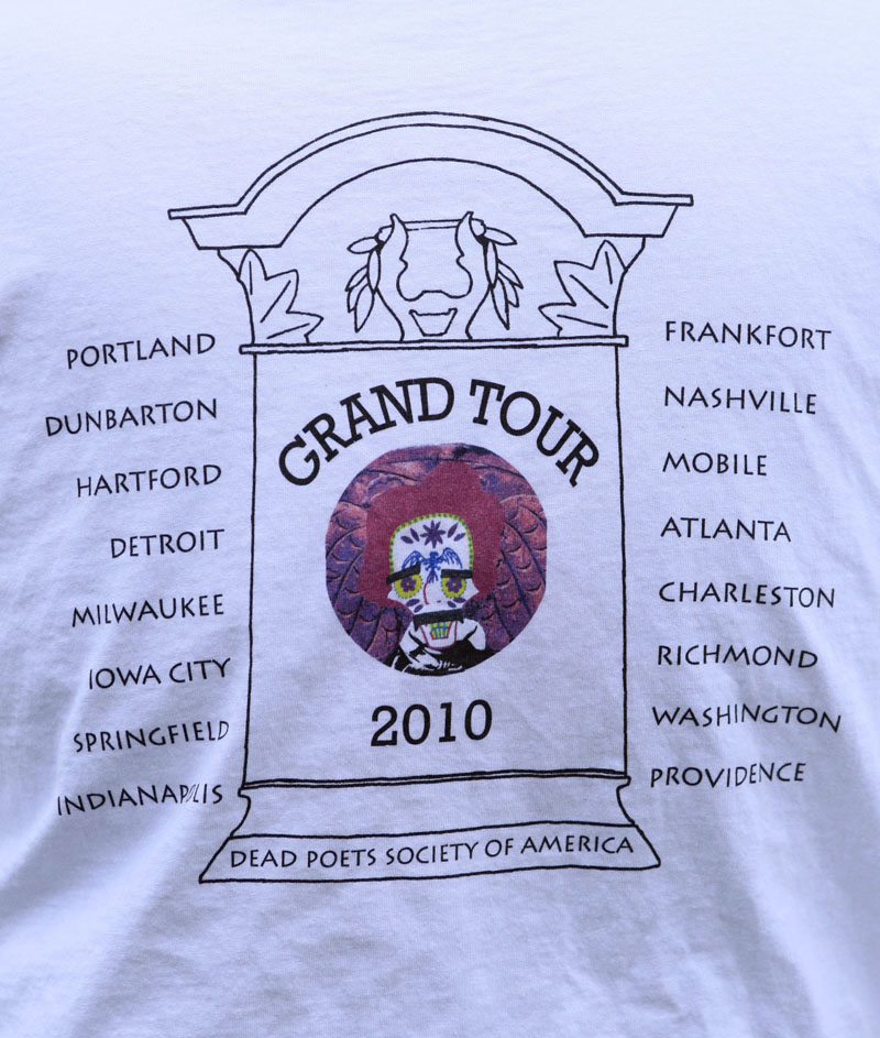 A list of stops on Walter Skold's upcoming 22-state tour of dead poet burial sites is seen on a t-shirt, Tuesday, in Portland. Skold, the founder of the Dead Poets Society of America, hopes to make Oct. 7th