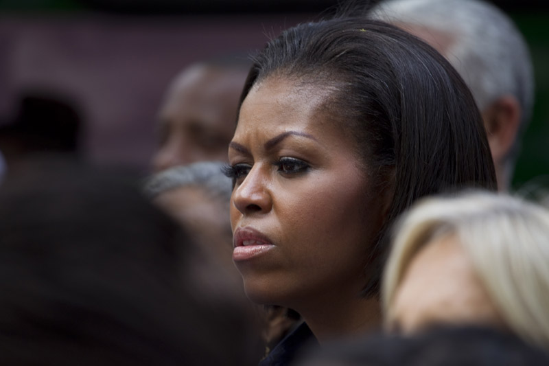 First Lady Michelle Obama visits a center for displaced children in Port-au-Prince, today.