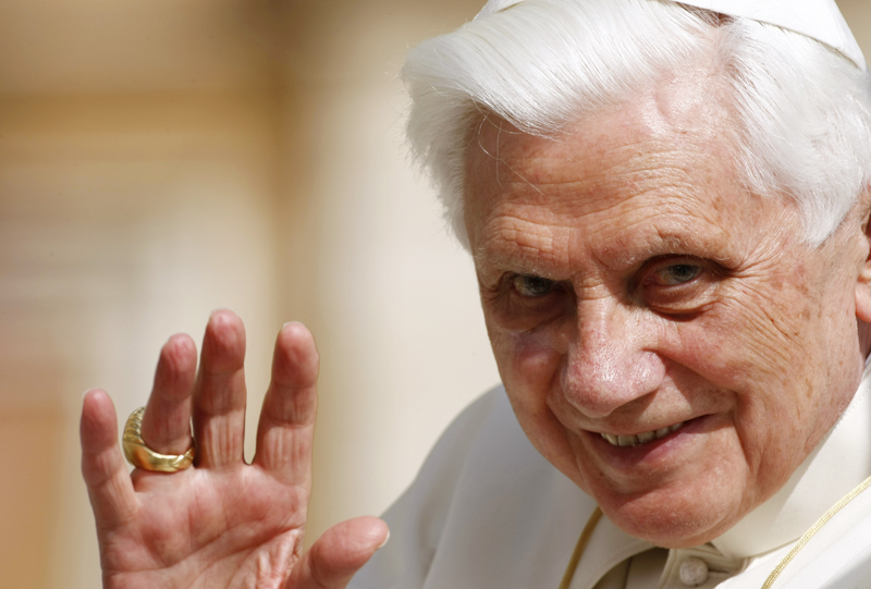 Pope Benedict XVI waves during his weekly general audience, in St. Peter's Square, at the Vatican. An uproar has followed reports that, as an archbishop years ago in Germany and later as a Vatican cardinal, Benedict and his aides were slow to defrock abusive priests