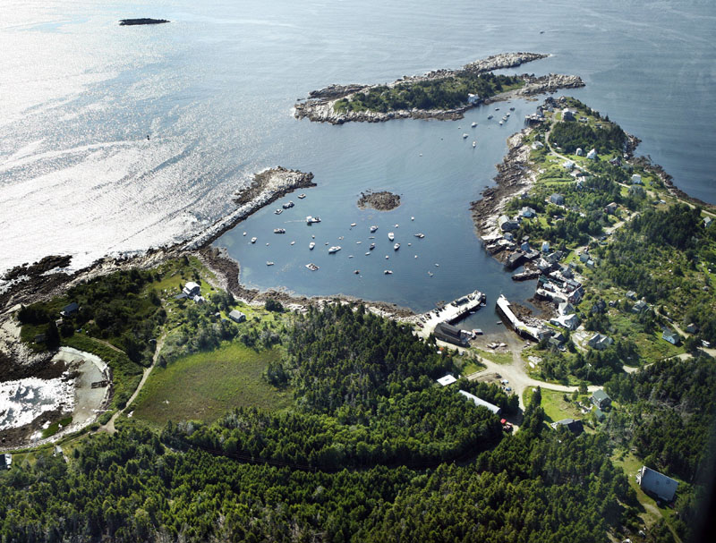 Aerial photo of the harbor on Matinicus Island.