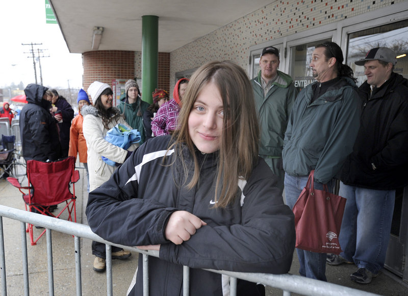 Nicole Perrine from Old Orchard Beach was the first in line at 12:45 a.m. Wednesday for tickets to see President Obama, who will speak at the Portland Expo today. More than 800 people had joined the line by 9 a.m.