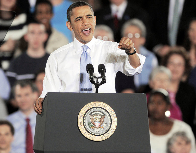 A spirited President Obama talks about the benefits of the new health care law Thursday in a speech at the Portland Expo