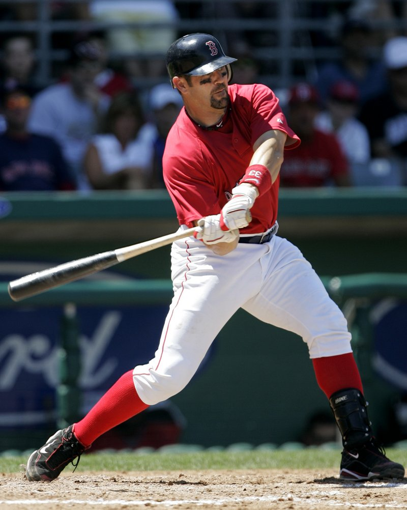 Jason Varitek of the Boston Red Sox takes a swing Friday during an exhibition against Washington. Varitek hit a three-run double during the 7-2 victory.