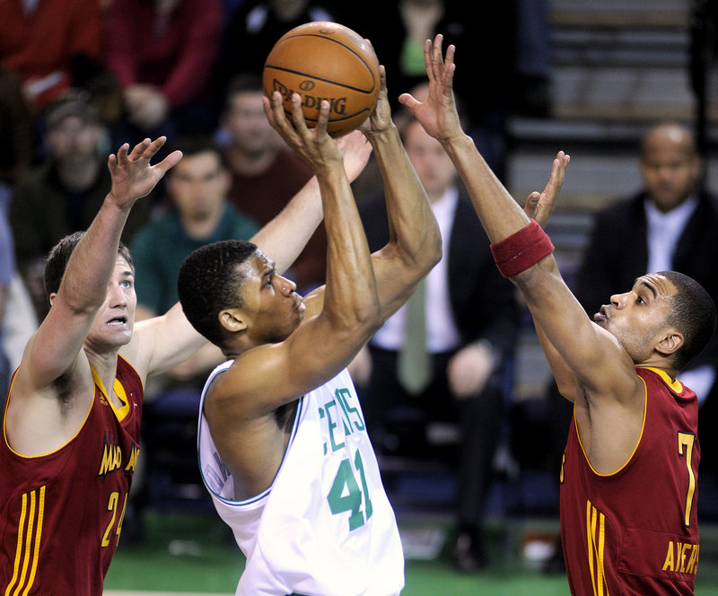 Morris Almond of the Boston Cel ...… wait, those were the Maine Red Claws wearing Boston Celtics uniforms Friday night at the Portland Expo. And like the Celtics at home, the Red Claws were losers. Their playoff chances are in peril with a 105-92 loss to the Fort Wayne Mad Ants.