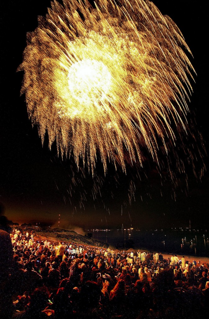 Scenes like this one on Portland's East End on July 4, 2005, could become scarce under a budget proposal to eliminate the fireworks show, saving an estimated $45,000. The city manager said he hopes to find a sponsor to pay for the show.