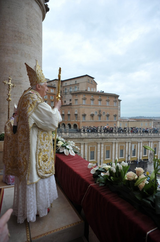 Pope Benedict XVI addresses the faithful at the end of Easter Mass in St. Peter's Square on Sunday.
