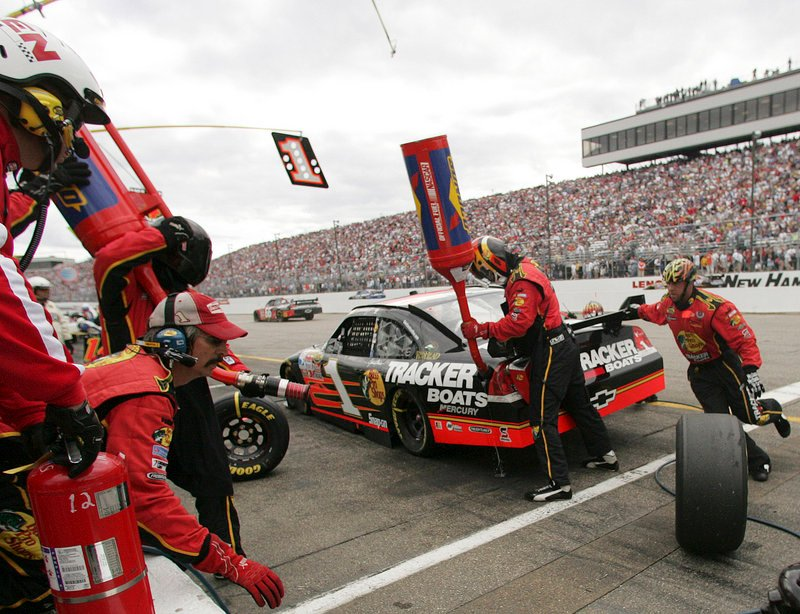 A driver makes a pit stop during a NASCAR race in 2007 at the New Hampshire Motor Speedway in Loudon, N.H. The track's general manager wants lawmakers to consider it among locations in New Hampshire for gambling.