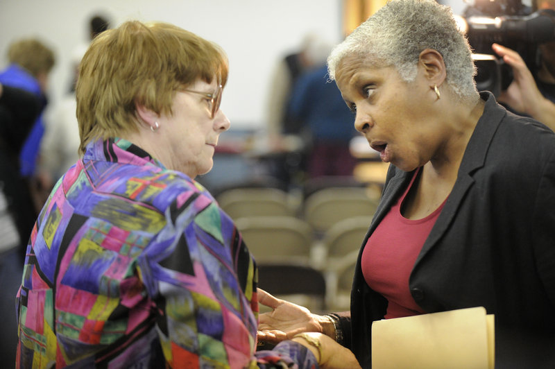 Selectwoman Barbara York, left, and Casco resident Mary-Vienessa Fernandes talk after Tuesday night's meeting in Casco ended.