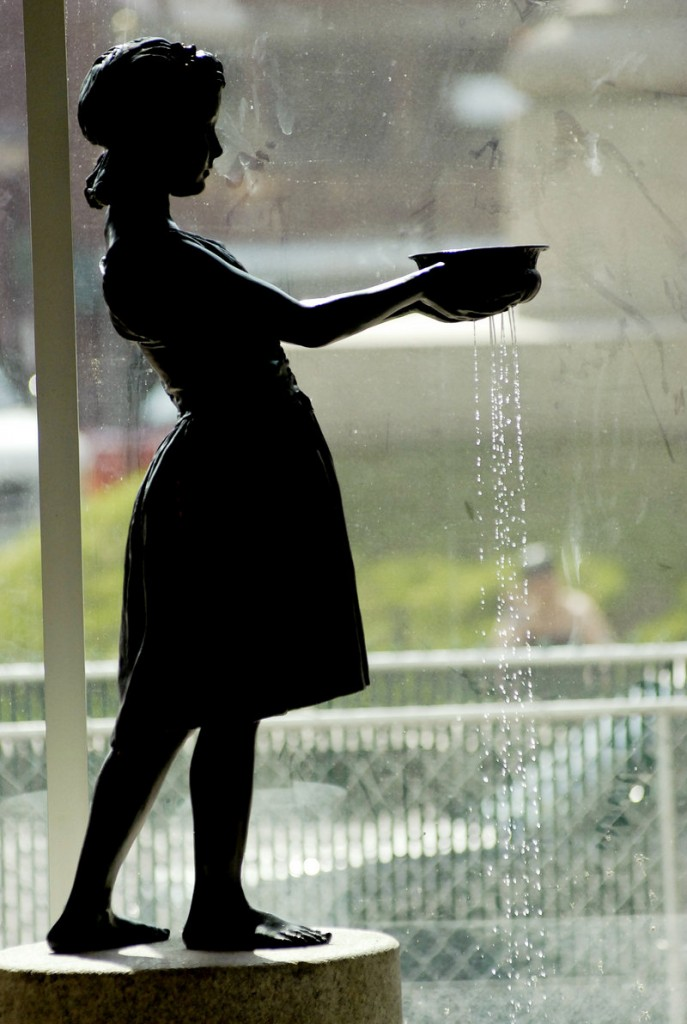 The Little Water Girl sculpture was given a high-visibility spot in the lobby of the newly renovated Portland Public Library.