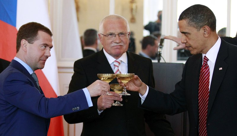 President Obama toasts with Russian President Dmitry Medvedev, left, and Czech Republic President Vaclav Klaus in Prague before signing a nuclear arms treaty Thursday.