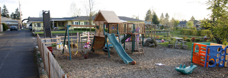 The front yard of Fletch Family Daycare in Vancouver, Wash., is empty after being shut down due to an E. coli outbreak that killed one child.