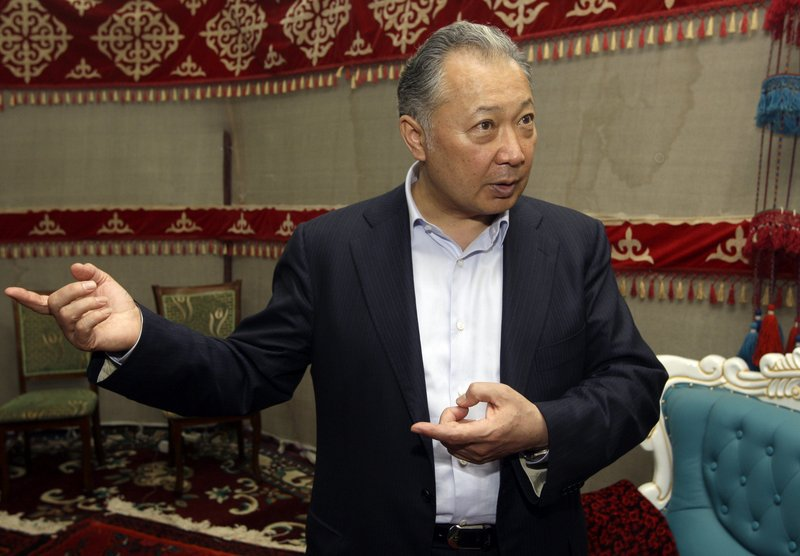 Kurmanbek Bakiyev, Kyrgyzstan's deposed president, speaks during an interview Sunday. He said he had not ordered police to fire at protesters in the capital last week.