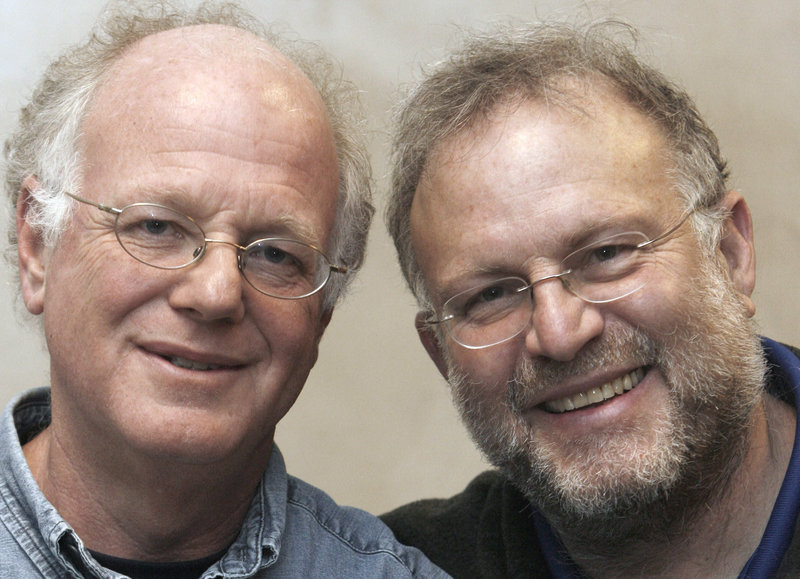 Vermont ice cream entrepreneurs Ben Cohen, left, and Jerry Greenfield back legislation that would allow corporations to write a social mission into their legal charters.