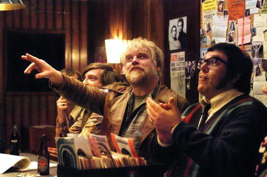 Philip Seymour Hoffman, center, and Nick Frost in ""