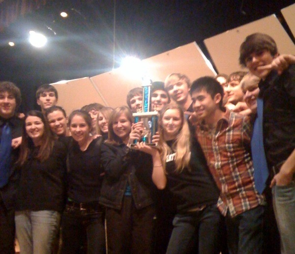Westbrook High School jazz band members celebrate a win.