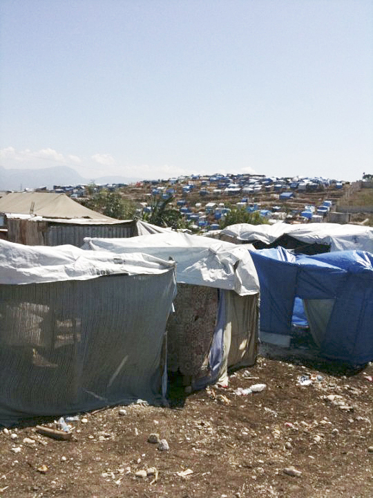 Temporary camps cover the hills near Port au Prince, Haiti's capital. With the rainy season starting, many of the shelters will blow away.
