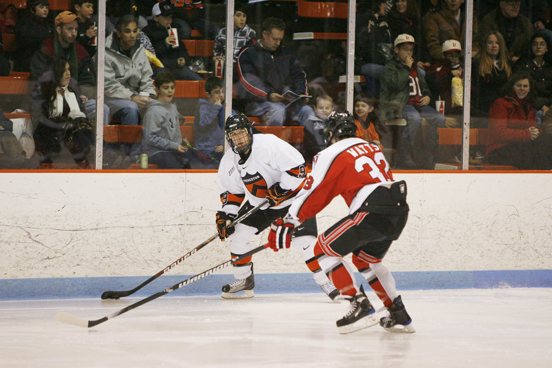 Dan Bartlett, left, of Portland decided to stay at Princeton after the hockey season to complete his courses rather than sign with an ECHL team.
