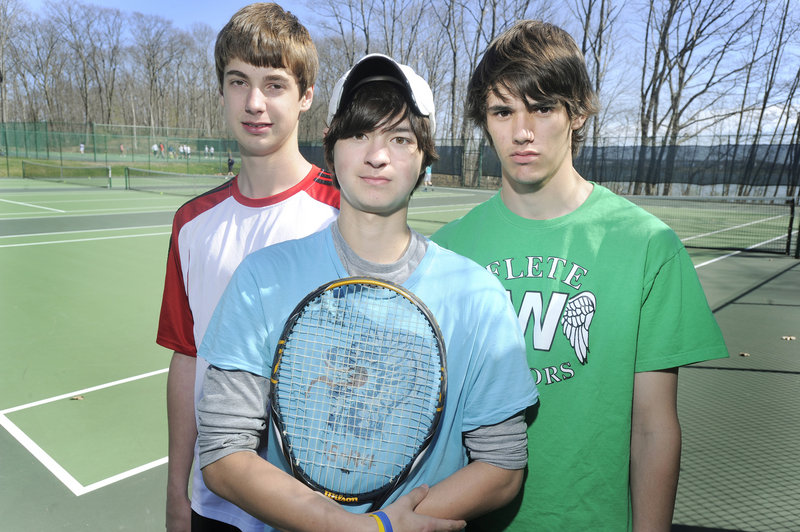 Waynflete will be a state tennis power again this season with three of the top players around. They are, left to right, Patrick Ordway, Brandon Thompson and Devin Van Dyke.