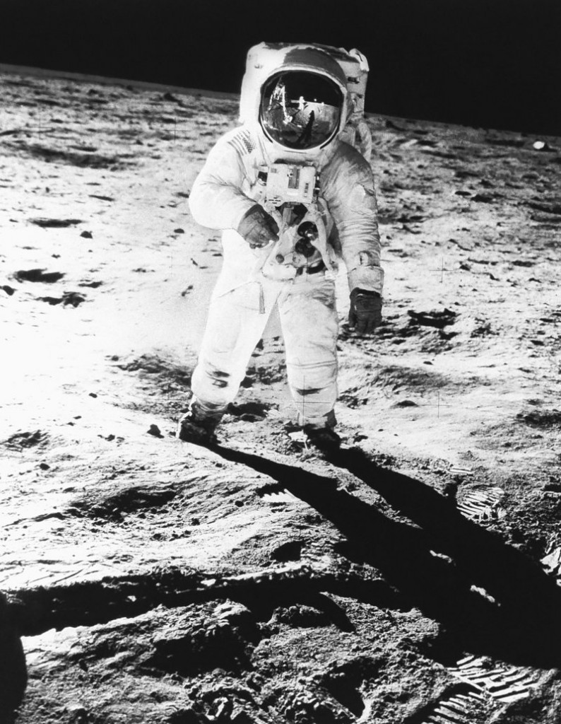 Astronaut Edwin E. Aldrin Jr., photographed by Neil Armstong, walks on the moon on July 20, 1969, after the two became the first men to land there.
