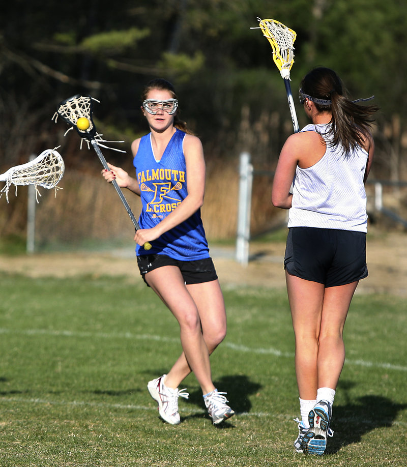 Laura Fay, a junior on the Falmouth girls' lacrosse team, is a speedy and skilled midfielder who directs the transition game from the center of the field.