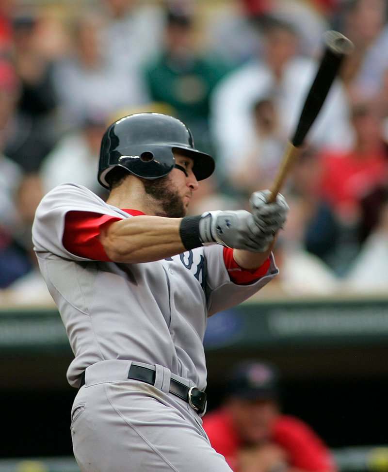 Jeremy Hermida filled in for injured left fielder Jacoby Ellsbury again Wednesday against the Twins and had a cushion-producing, three-run double in the eighth inning, helping John Lackey get his first win with the Red Sox.