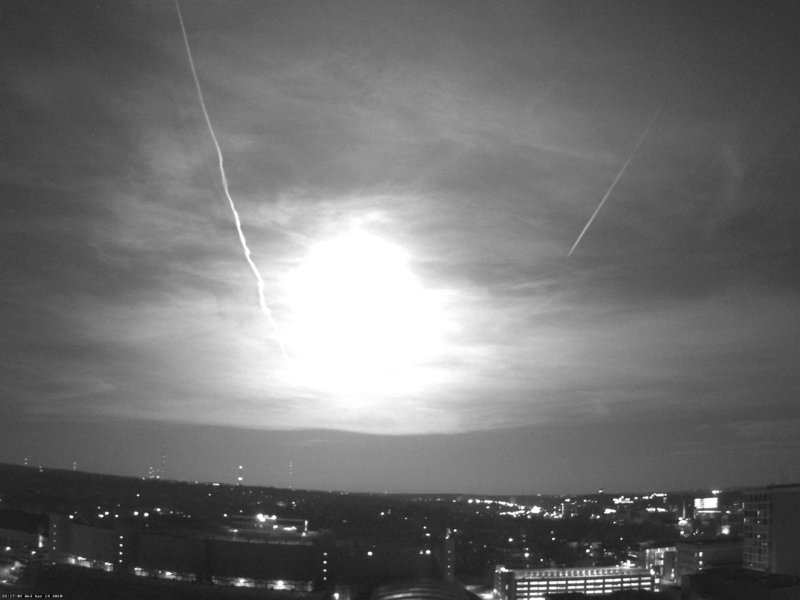 A photo released by the University of Wisconsin-Madison Department of Atmospheric and Oceanic Sciences shows a fireball as it passed over Madison, Wis., Wednesday night.