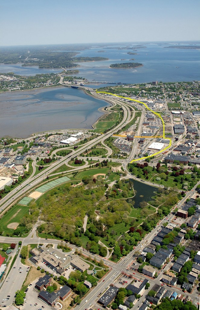 A Brian Peterson photo provided by Portland Trails shows an aerial view of a portion of the city with a yellow line marking the planned Bayside Trail – from Deering Oaks to Tukey's Bridge.