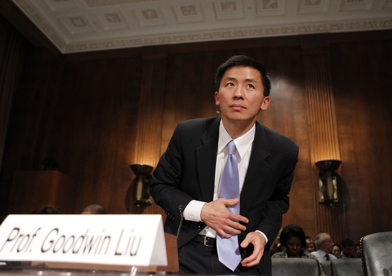 Law Professor Goodwin Liu takes his seat Friday prior to testifying at a Senate Judiciary Committee hearing.