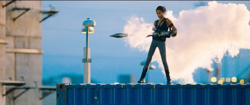 "Zoe Saldana is Aisha in the new action film ""The Losers."""