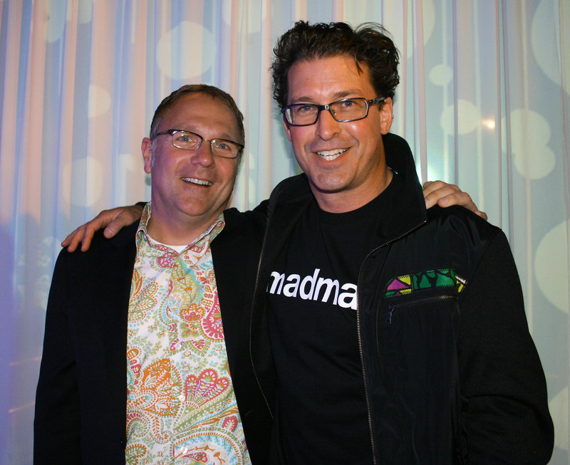 The show's emcee Chris Kast and the show's organizer Paul Drinan, who is wearing Mad Girl World.