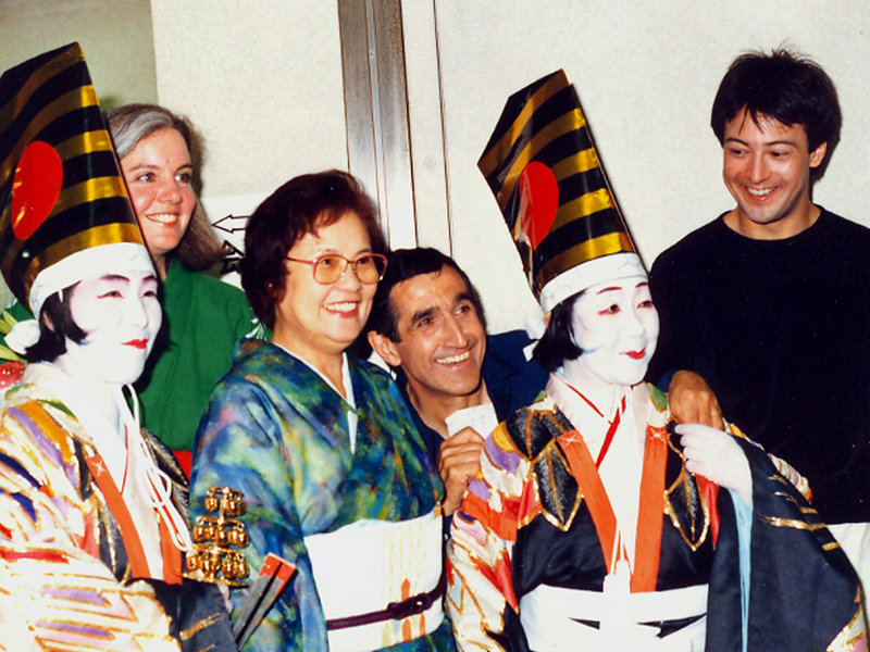 As part of the first cultural exchange between Portland and Shinagawa, Japan, in 1985, Portland sent groups of entertainers to perform in Shinagawa. Pictured above are former city manager Tim Honey's wife, Honey; a Shinagawa friend; mimest Tony Montenaro; and shadow artist Lee Faulkner and actors from the Kabuki Theatre.