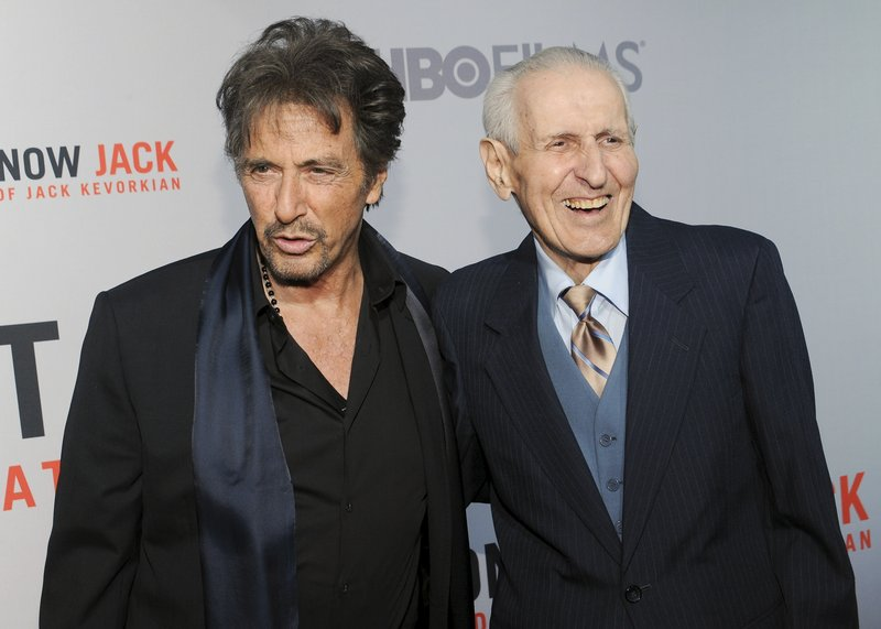 """Actor Al Pacino, left, and Dr. Jack Kevorkian, assisted-suicide crusader, attend the premiere of """"You Don't Know Jack: The Life and Deaths of Jack Kevorkian"""" at the Ziegfeld Theatre in New York."""